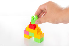 Kleurrijk Toy Blocks Isolated op Wit stock afbeelding