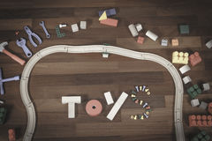Kleurrijk van het jonge geitjesspeelgoed kader als achtergrond met woordstuk speelgoed van verschillend speelgoed Vlak leg Hoogst Stock Foto