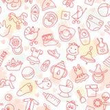 Kleurrijk van naadloos patroon van kinderenspeelgoed en diverse kinderenelementen in roze royalty-vrije illustratie