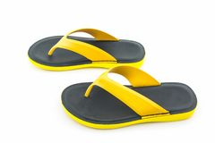 Kleurrijk van Sandals-schoenen, Gele en zwarte wipschakelaars Stock Fotografie