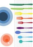 Kleurrijk van tafelgerei op witte achtergronden, voedselachtergronden Royalty-vrije Stock Afbeelding