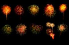 Vuurwerk op zwarte achtergrond Stock Foto