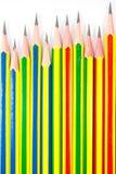 Kleurrijk van zwarte potloden Stock Foto's