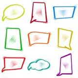 Kleurrijk vastgesteld dialoogvenster, toespraakbellen in pop-artstijl Strippagina lege ballon Vector vector illustratie