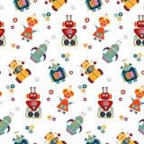 Kleurrijk vector naadloos patroon met retro robots stock illustratie