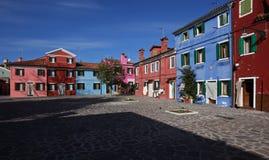 Kleurrijk vierkant in Burano Royalty-vrije Stock Afbeeldingen