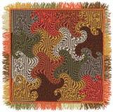 Kleurrijk vierkant tapijt met golvende, gewervelde, gewatteerde patroon en rand vector illustratie