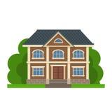 Kleurrijk Vlak Woonhuis Privé woonarchitectuur Dit is dossier van EPS10-formaat Traditioneel en modern huis Vlakke stijl vectoril Stock Fotografie