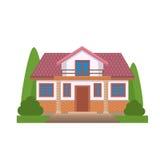 Kleurrijk Vlak Woonhuis Privé woonarchitectuur Dit is dossier van EPS10-formaat Traditioneel en modern huis Vlakke stijl vectoril Stock Foto