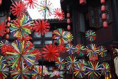 Kleurrijk vuurrad in Chengdu-Dorp Royalty-vrije Stock Afbeelding