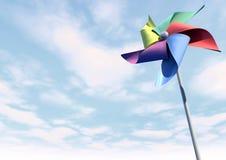 Kleurrijk Vuurrad op het Blauwe Perspectief van de Hemel Royalty-vrije Stock Fotografie