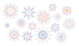 Kleurrijk vuurwerk stock illustratie