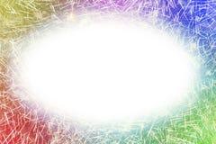 Kleurrijk vuurwerk met de witte ovale het gloeien ruimte van het randenexemplaar royalty-vrije stock afbeelding