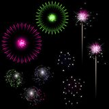 Kleurrijk vuurwerk met ruimte voor tekst Stock Afbeelding