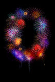 kleurrijk vuurwerk nummer 0 voor 2017 - mooie kleurrijke firew Stock Foto