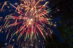 Kleurrijk vuurwerk op de donkerblauwe hemel en de bomen als achtergrond Royalty-vrije Stock Fotografie