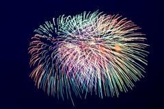 Kleurrijk vuurwerk op de donkere achtergrond van de dluehemel Stock Afbeelding