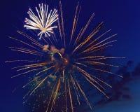 Kleurrijk vuurwerk op de donkere achtergrond van de nachthemel Vakantielicht Royalty-vrije Stock Afbeelding