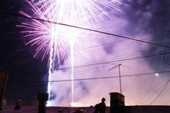 Kleurrijk vuurwerk op de zwarte hemel Royalty-vrije Stock Foto's