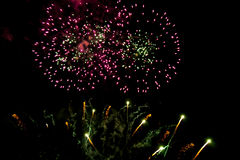 Kleurrijk vuurwerk op de zwarte nachthemel stock afbeeldingen