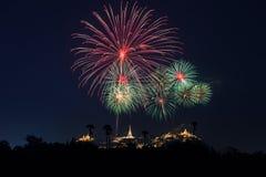 Kleurrijk vuurwerk op Khao Wang Stock Afbeelding