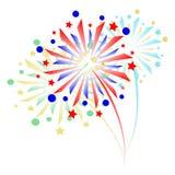 Kleurrijk Vuurwerk op witte achtergrond Royalty-vrije Stock Afbeelding