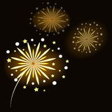Kleurrijk vuurwerk op zwarte achtergrond Royalty-vrije Stock Fotografie