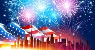 Kleurrijk vuurwerk voor Onafhankelijkheidsdag van Amerika Vector royalty-vrije illustratie