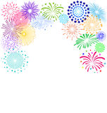 Kleurrijk vuurwerkkader op witte achtergrond voor vieringspartij Stock Foto's