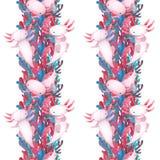 Kleurrijk waterplanten en overzees onkruidpatroon met leuke axolotl royalty-vrije illustratie