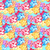 Kleurrijk waterverf bloemen eindeloos patroon Stock Afbeelding