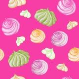 Kleurrijk Zoet heerlijk waterverf naadloos patroon met schuimgebakje Waterverfhand getrokken illustratie Ge?soleerde stock illustratie