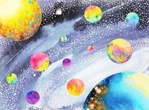 Kleurrijk zonnestelsel in heelalwaterverf het schilderen getrokken hand vector illustratie