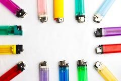 Kleurrijke aanstekers Stock Afbeeldingen