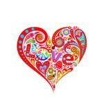 Kleurrijke abstracte bloemenhartvorm met rode tulp, onzelieveheersbeestje, hippiesymbool met regenboog royalty-vrije illustratie