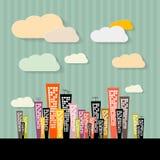 Kleurrijke Abstracte Gebouwenillustratie Stock Afbeeldingen