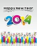 Kleurrijke Abstracte Gelukkige Nieuwjaar 2014 Kaart Stock Foto's