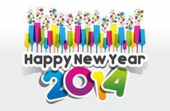 Kleurrijke Abstracte Gelukkige Nieuwjaar 2014 Kaart Stock Afbeelding