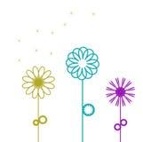 Kleurrijke abstracte hand getrokken bloemen Royalty-vrije Stock Foto's