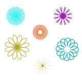Kleurrijke abstracte hand getrokken bloemen Stock Afbeeldingen
