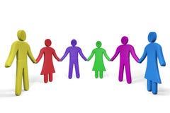 Kleurrijke abstracte mensen die zich hand in hand bevinden Stock Foto's