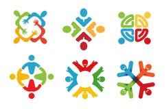 Kleurrijke Abstracte Mensen Logo Design Royalty-vrije Stock Foto's