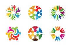 Kleurrijke Abstracte Mensen Logo Design Stock Foto