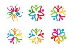 Kleurrijke Abstracte Mensen Logo Design Illustration Stock Afbeelding
