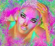 Kleurrijke abstracte, mooie maniervrouw, make-up, lange wimpers met korte kapsel en lichaamspai Royalty-vrije Stock Fotografie