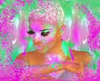 Kleurrijke abstracte, mooie maniervrouw, make-up, lange wimpers met korte kapsel en lichaamspai Stock Afbeeldingen
