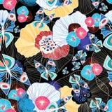 Kleurrijke abstracte patroon en vlinders Stock Foto's