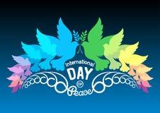 Kleurrijke abstracte silhouetten van duiven met olijftak Illust Stock Afbeeldingen