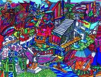 Kleurrijke abstracte tekening royalty-vrije illustratie