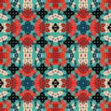 Kleurrijke abstracte voorwerpen op blauw naadloos vectorpatroon als achtergrond Stock Foto